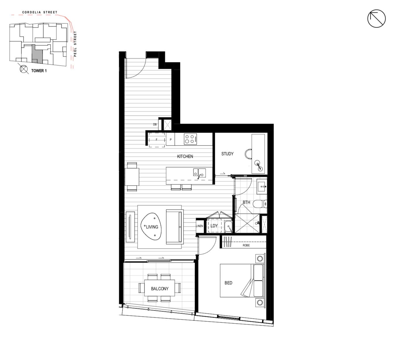 Tower 1 Unit 2301 - 1 Bedroom